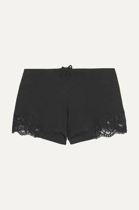 La Perla Souple Lace-trimmed Stretch-cotton Jersey Pajama Shorts - Black
