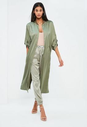 Green Oversized Satin D Ring Detail Duster Coat $70 thestylecure.com