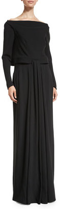 Zac Posen Long-Sleeve Popover Gown, Black $3,990 thestylecure.com