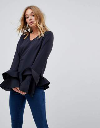 Vila Ruffle Hem Blouse With Tiered Sleeves