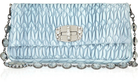 Miu Miu Crystal-embellished matelassé leather bag