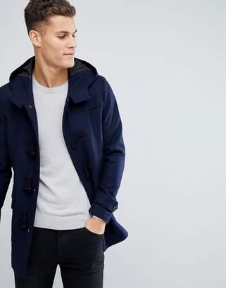 Asos DESIGN Wool Mix Duffle Coat In Navy