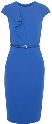Max Mara Zarina Ruffled Stretch-wool Dress - Royal blue