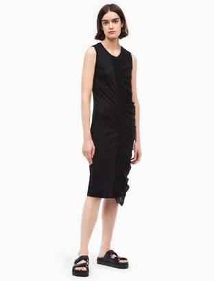 Calvin Klein platinum silk chiffon sleeveless dress