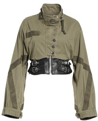 Alexander Wang Leather Waist Military Jacket