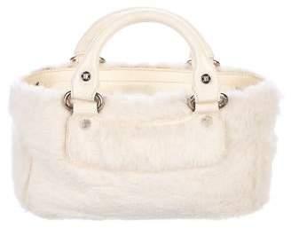 Celine Patent Leather & Fur Handle Bag
