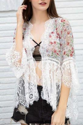 POL Flare Sleeve Kimono-Cardigan