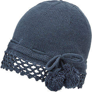Joe Browns Womens Pom Pom Vintage Knit Hat Dusky Blue One Size