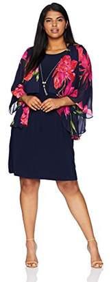 Tiana B Women's Size Plus Printed Chiffon Mock Jacket Dress