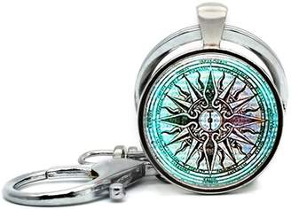 Windrose LAROK WAZZIT Keychain Round Pendant Compass Rose Nautical Rose Of The Winds Glass Cabochon Key Rings Stainless Steel Metal Handmade Charm Pendants