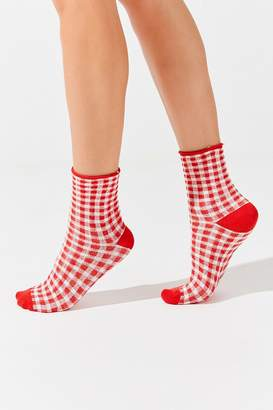 Urban Outfitters Gingham Roll Top Crew Sock