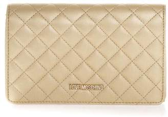 Love Moschino Gold Color Quilted Faux Leather Bag