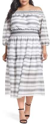 Vince Camuto Off the Shoulder Print Gauze Midi Dress