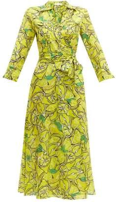 Diane von Furstenberg Lemon Print Cotton Blend Wrap Dress - Womens - Yellow Multi