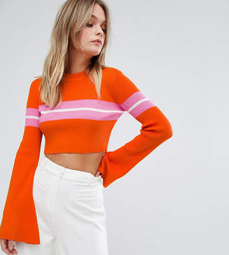 Missguided Flare Sleeve Stripe Cropped Jumper