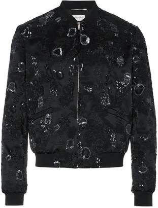 Saint Laurent Sequin Embroidered Bomber Jacket