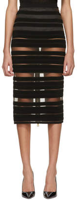 Balmain Black Sheer Striped Miniskirt