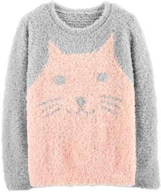 Carter's Girls 4-12 Fuzzy Cat Sweater