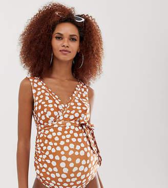 Peek & Beau Eco Exclusive Maternity belted scallop swimsuit in cinnamon spot