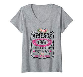Womens Vintage 1961 Birthday Year Cute Floral Perfectly Aged Gift V-Neck T-Shirt