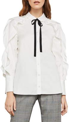 BCBGMAXAZRIA Tie-Neck Button-Down Cotton Ruffle Blouse