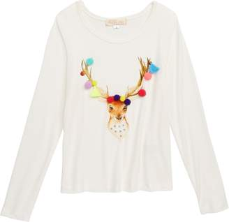Truly Me Holiday Deer Embellished Tee