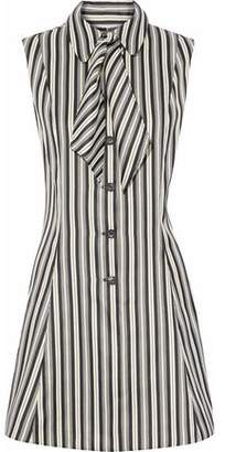 McQ Flared Striped Satin-Cady Mini Dress