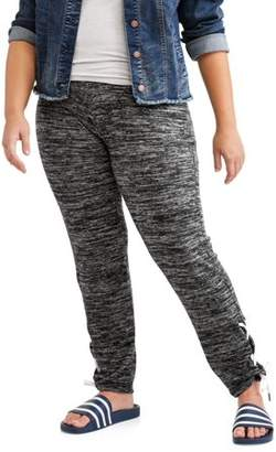 POOF Poof Juniors' Plus Brushed Lounge Jogger With Lace Up Detail