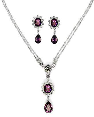 Swarovski Cristalina Sybil Amethyst Crystal Drop Y- Shape Necklace and Earring Set