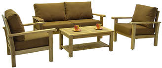 International Home Miami Gilli 4-Pc Outdoor Teak Set with Cushions