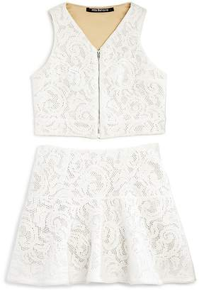 Miss Behave Girls' Lace Zip-Front Top & Skirt Set - Big Kid