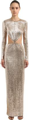Julien Macdonald Embroidered Cutout Long Sleeve Dress