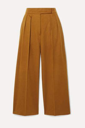 Max Mara Cropped Pleated Camel Hair Wide-leg Pants - UK12