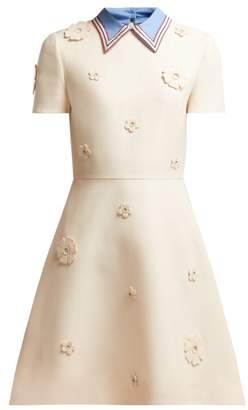 Valentino Floral Applique Wool And Silk Blend Crepe Dress - Womens - Ivory Multi