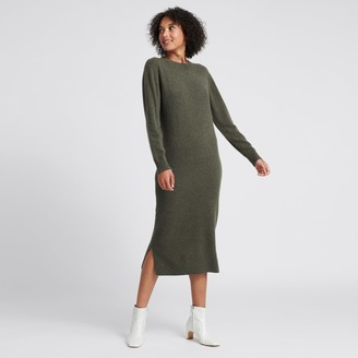 Naadam Wool Cashmere Sweater Dress Olive