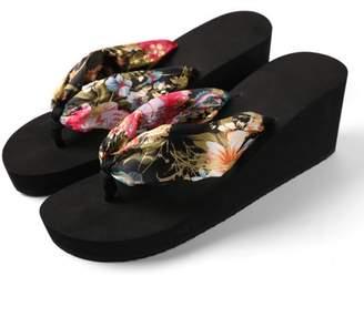 AERUSI Women's Saki Floral Wedge Sandal Flip Flops