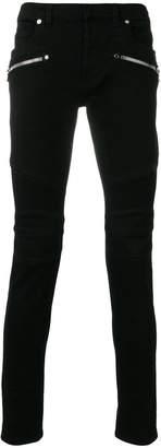 Balmain zip detail biker jeans