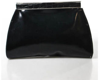 Vintage PERRY ELLIS Black Genuine Leather Clutch Handbag $27.01 thestylecure.com