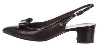 Chanel Patent Bow Slingbacks