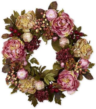 """Nearly Natural 24"""" Peony & Hydrangea Wreath"""