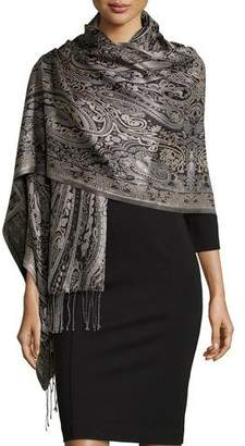 Sabira Paisley Jacquard Weave Silk Shawl, Black/White