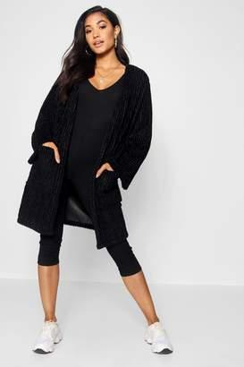 boohoo Panelled Collarless Faux Fur Coat