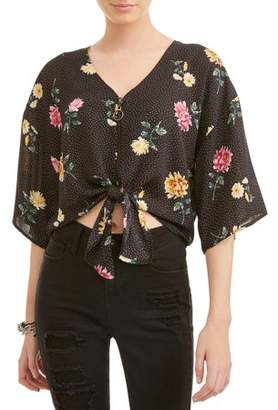 Liberty Love Juniors' Floral Printed Zip Tie Front Batwing Blouse