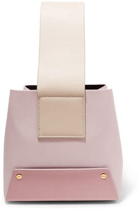 Yuzefi - Tab Color-block Textured-leather Tote - Pastel pink