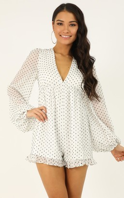 Showpo Popping candy playsuit in white spot - 4 (XXS) Long Sleeve