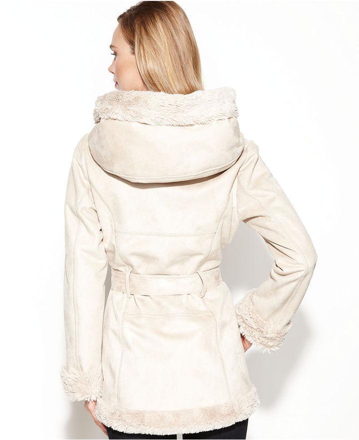 Jones New York Coat, Hooded Belted Faux-Shearling