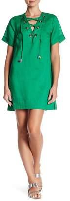 Line & Dot Garcia Lace-Up Pompom Dress