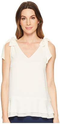 CeCe Short Sleeve V-Neck Layered Blouse Women's Blouse