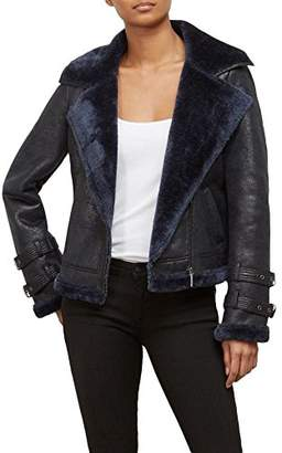 Kenneth Cole Women's Shearling Moto Jacket