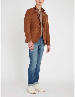 Eleventy Curved-hem suede jacket